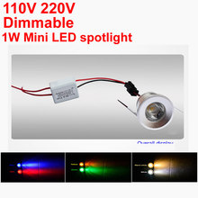 Mini Spot Led Downlight dimmable 1W 110LM Ceiling Led Lights Yellow Red Green Blue Purple Jewelry Lamp Bookcase 110V 220V(China)