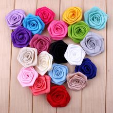 "10pcs/lot 1.6"" 20 Colors HOT SALE Artificial Crochet Rose Flower For Children DIY Headwear Accessories Rolled Satin Hair Flowers(China)"