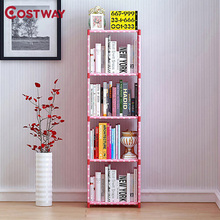 COSTWAY Fashion Simple Non-woven Bookshelves Four-layer Dormitory Bedroom Storage Shelves Bookcase Boekenkast Librero W011