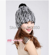 2014 Women's Real Rex Rabbit Fur Hats with Ball Female Winter Beanies Caps Fashion Headgear 30% off