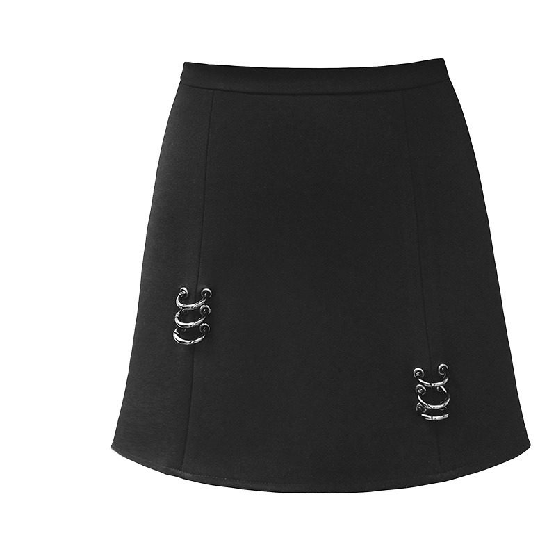 Young17 Gothic Bodycon Skirt Women Autumn Black Fashion A-Line 3D Buckle High-Street Sexy Mini Club Young Casual Goth Mini Skirt