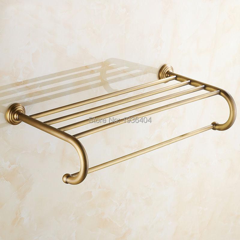 Luxury Design Euro Antique Brass Bathroom Towel Racks Double Towel Rack Wall Mounted Towel Shelf TR1018<br>