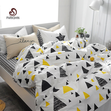 ParkShin Triangle World Art Printed Bedding Set Kids Bedspread Duvet Cover Set Cute 100% Cotton Bed Set With Flat Sheet