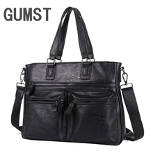 GUMST Leather bag Business Men bags Laptop Tote Briefcases Crossbody bags Shoulder Handbag Men's Messenger Bag
