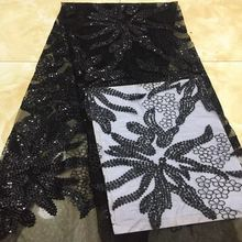 2018 Most popular Black French lace African sequins embroidery tulle lace  fabric for fashion evening dress 48549e27ab0c