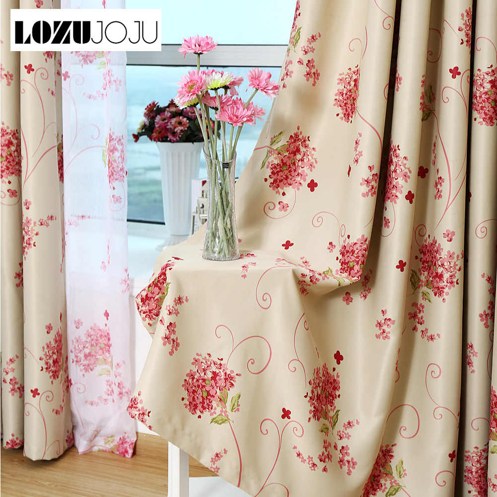 LOZUJOJU Floral beige curtain pastoral blackout drops for bedroom living room window tulle set curtains modern thread fabric