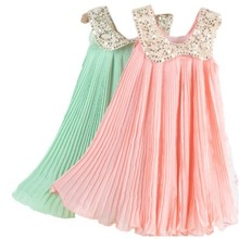 2017 Summer Girls Pleated Chiffon One-Piece Dress With Paillette Collar Children Colthes For Kids Baby, Pink/Green Free Shipping
