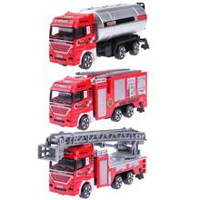 High Simulation Small Fire Engine Ladder Water Tank Fire Truck Model Alloy Vehicles Toys for Kids Gift(China)