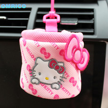 Hello Kitty Car Organizer Storage Bucket Bag for Mobile Phone Cute Cartoon Auto Collect Box Car Accessories Car Storage Holder