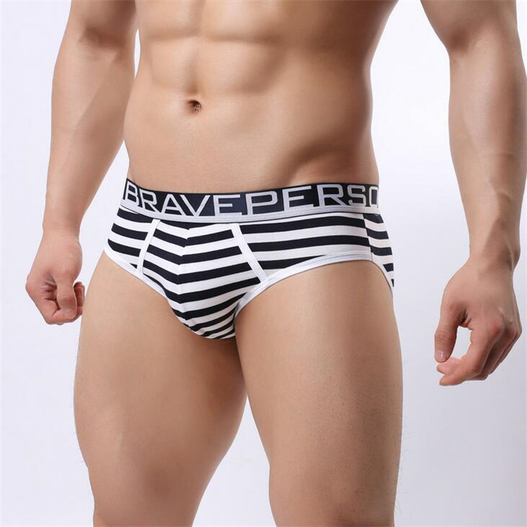 Hot sell Brave Person Brand Underwear Men's Cotton Striped Briefs Underpants Men Panties Comfortable Wide Belt Underwear 1154 23