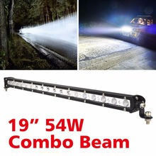 2016 hot sale 54W High Intensity Single LED Light Bar Work Off-road For Jeep Truck 4*4 SUV ATV Tractor Combo headlight bar