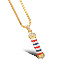 HANCHANG New Design Shop Pole 3D Barber Pole Necklace Chain Pendant Necklace Hip Hop Barber Hairdresser Gothic Jewelry Gift