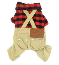 Small Dog Jumpsuit Pet Tee Shirts Puppy Cat Clothes Red Plaid Dog Coat Khaki Pants Small Dog Overalls Outfits