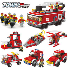 2017 Newest 626pcs Firefighting Cew Building Blocks Educational Toys DIY Bricks Fire Assembled Toy Fire Truck Toys for Children(China)