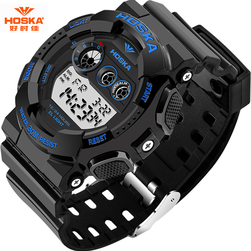 50m Waterproof HOSKA Fashion Men Watch   LED Sport Military Watches Shock Mens Analog Quartz Digital Watch relogio masculino<br><br>Aliexpress