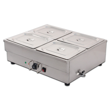 4 Pan Stainless Steel Bain Marie Food Warmer with Drain Tap 1/2x10cm GN Pans 1000W(China)