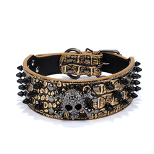 Skull Style Round Spike Studded Soft PU Adjustable Pet Dog Puppy Safety Collar 3 Colors for Choice