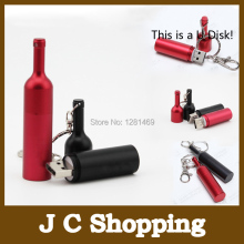 Amthin Customized Logo Creative usb flash drive metal wine bottle 2g 4g 8g 16g 32 pendrive gift custom fashion hang buckle