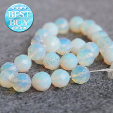New Necklace&Bracelet 14mm Sri Lanka Moonstone Faceted opal beads DIY Jewelry making design 15inch Semi Precious Stone Accessory(China)