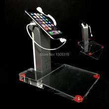 10xRetail cell phone security display stand mobile alarm acrylic holder transparent burglar alarm for  MP3,MP4,Tablet PC