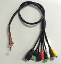 CCTV IP network Camera PCB Module video power cable with RJ45+BNC+DC+USB+Audio input+Audio output+RS485+Alarm (UG)