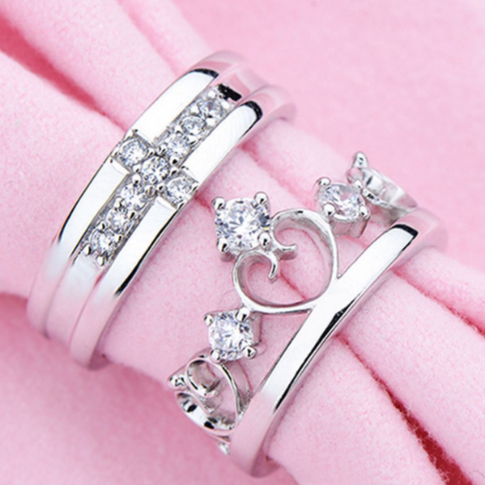 2018 Exquisite Shining Crystal Queen Crown Cross Silver Couple Rings ...