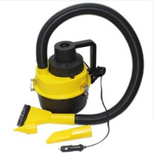 Portable 12V Wet Dry Car Vacuum Cleaner Handheld Mini Auto Car Dust Vacuum Cleaner with Brush / Crevice / Nozzle Head (Yellow)