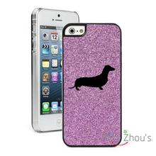 For iphone 4/4s 5/5s 5c SE 6/6s 7 plus ipod touch 4/5/6 back skins cellphone cases cover  Glitter Bling Dachshund Puppy Dog