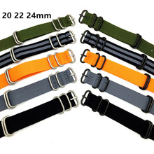 High Quality Men Women Nylon Zulu Watch Band Strap Nato With Pin Buckles 20mm 22mm 24mm Black White Red Yellow