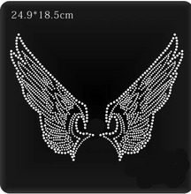 2pcs/lot Angels Wings design stone hot fix rhinestone motif rhinestone iron on transfers designs appliques for shirt(China)