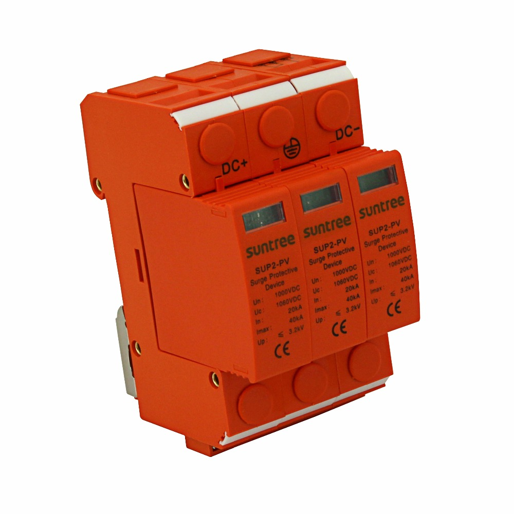 SSPD Surge Protector DC 1000V 20KA/3P Surge Arrester for PV System  II Classified Test UP 3.2KV 10mm Stripping Length 2015 NEW<br>