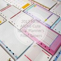 Hot New Cute A5/A6/A7 Notebook's Filler Papers Creative 6 Holes Spiral Filler Paper For Filofax Binder Planner School Supplies