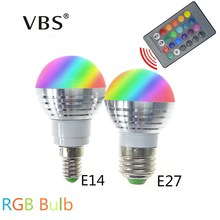 E27 E14 LED RGB Bulb Lamp 3W AC85-265V LED Home decoration Interior Spot Light Lighting LED Lampada+IR Remote Control 16 Colors(China)