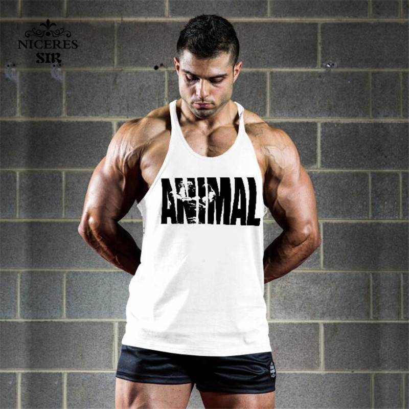 7606f8815b6f1f Animal Gyms Tank Top Men Workout Clothing Bodybuilding Stringer Men Muscle  Vests Cotton Y back Singlets debardeur fitness homme
