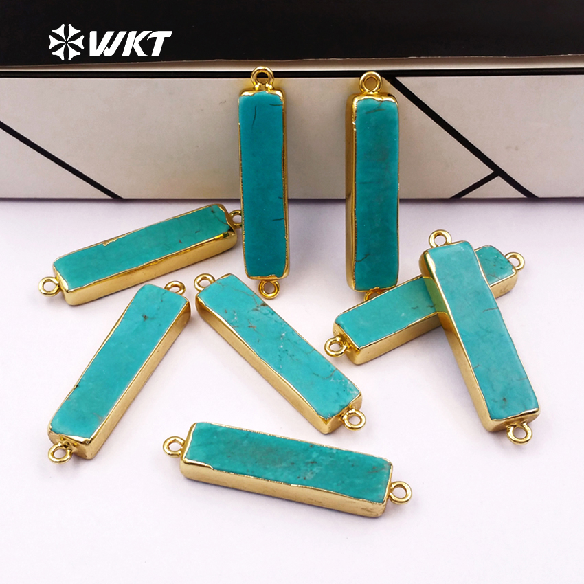 Fashion !! Natural howlite long rectangle pendants with gold electroplated,connector pendants with double loops(WT-C062)