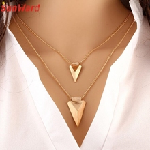 Women Two Layer Arrow Gold Pendant Chain Statement Necklace Delicate