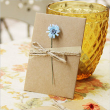 1pcs Retro Kraft Paper Flower Card Christmas Thank You Greeting Mother's Day Gift DIY Wedding Party Baby Shower Supplies Favor-W