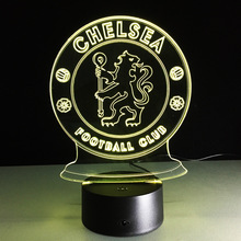 2017 USB Novelty 3D Lights Chelsea Football Club LED Touch Lamp as Lumiere de Fantaisie Aux LEDs for Home Lighting Futbol Lamp