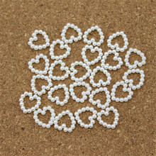 LINSOIR 100pcs 11*11mm Heart White Flat Back Imitation Pearls Beads For Decoration DIY Jewelry Making Findings Material F1521(China)