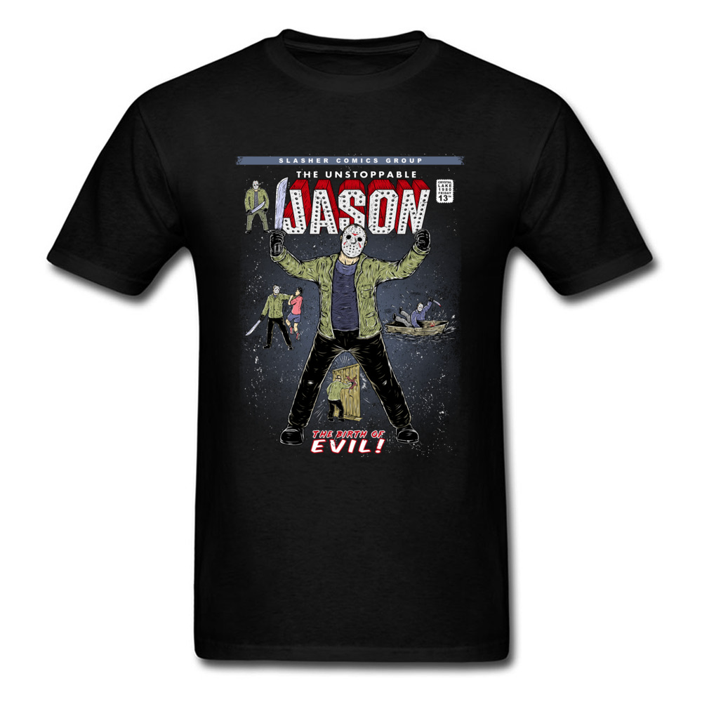 Gift T-Shirt Newest Round Neck The unstoppable Jason 100% Cotton Boy Tees Comics Short Sleeve T-shirts Drop Shipping The unstoppable Jason black