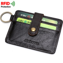 RFID Protection Genuine Real Leather Man Casual Wallet Plastic Card Holder Case Wallet Money Bag Cowhide Credit Card Case New(China)