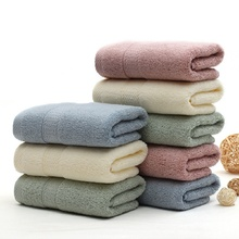 4pcs/lot 34*76cm Solid Color 100% Cotton Face Towel  for Adults  Yarn Dyed Thicken Men/Women Towels Bathroom toallas
