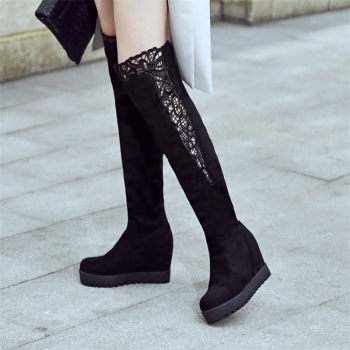 PXELENA NEW 2018 Winter Platform Long Boots Shoes Woman Gothic Over The Knee Boots Cut-Outs Rinding Knight Shoes Plus Size 34-43