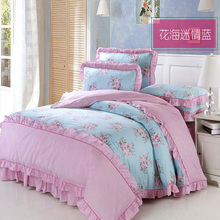 Bedding Set 100% Cotton 4pc Princess Romantic Country Style Blue Twin Bedding Set Flowers Printing Comforter Set Free Shipping(China)