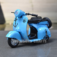 1:14 DIECAST MOTORCYCLE MODEL TOYS PULL BACK SCOOTER VESPA W/ SOUND & LIGHT