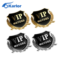 2pcs/set VIP MOTORS 3D Metal Car Chrome Emblem Badge Decal Door Window Body Auto Decor DIY Sticker Car Styling Accessories(China)