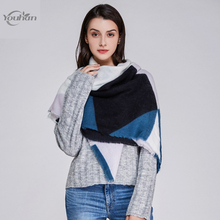 YOUHAN Women Scarf Winter Triangle Scraf Brand Designer Lady Shawl Cotton Foulard Plaid Scarves Blanket Dropshipping(China)