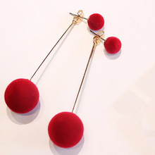 2017 New Arrival Liumeng Women The Size Of The Hair Ball Long Tassel Earrings Stud Earrings