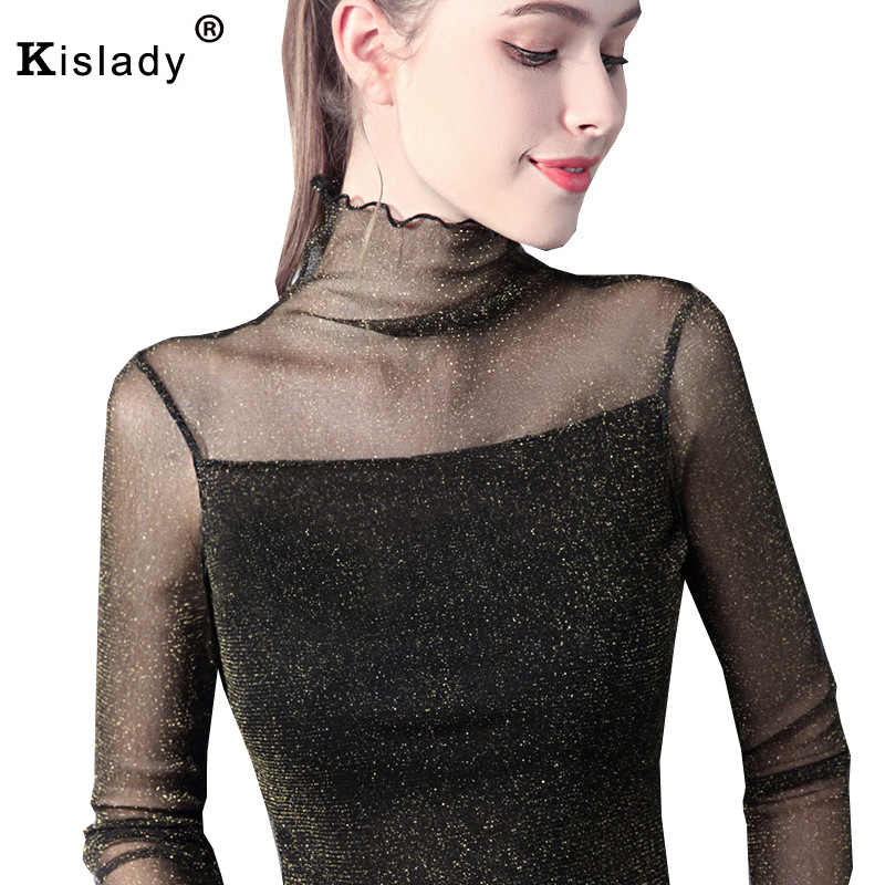 Kislady 2018 Sexy Women T Shirt See Through Transparent Mesh Turtleneck  Tops Long Sleeve Sheer Slim 632cde2ea6f9