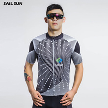 SAIL SUN Mens Ropa Ciclismo Comfortable Cycling Short Sleeve Jersey Gears Bike Riding Shirt Grey S-5XL